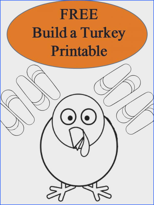 FREE Build a Turkey Thanksgiving Printable coloring pages book fun for classroom projects and kids