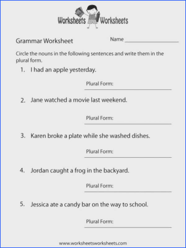 Fair Free Printable English Grammar Worksheets For Grade 1 Also Grade 5 English Worksheets Free