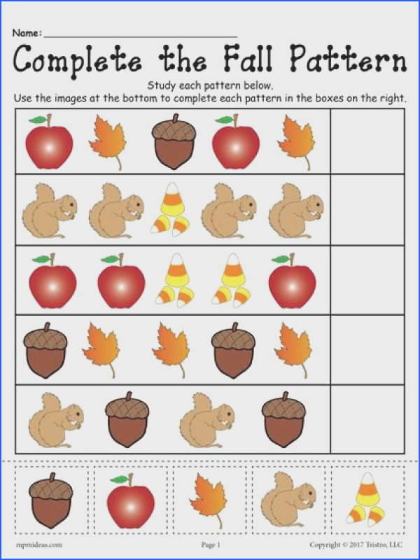 FREE Printable Fall Pattern Worksheet Pattern worksheets like this one are great for practicing pattern