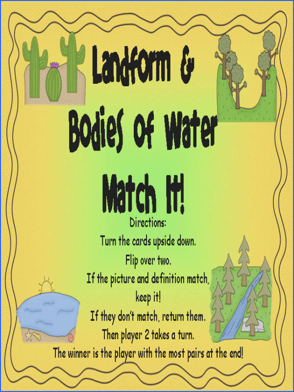 Free printable Landforms matching game Child matches definitions and images to her