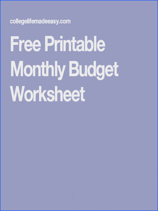 Free Printable Monthly Bud Worksheet