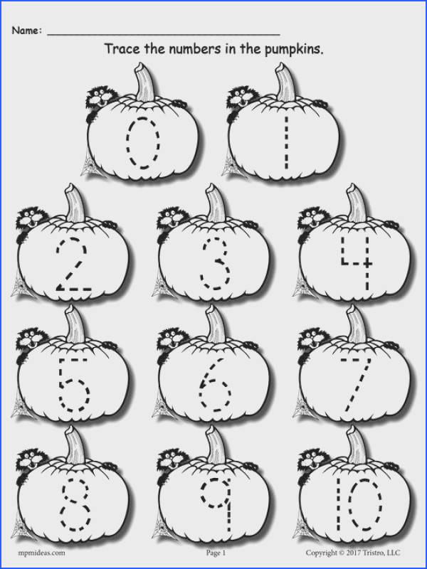 FREE Printable Pumpkin Number Tracing Worksheets 1 20