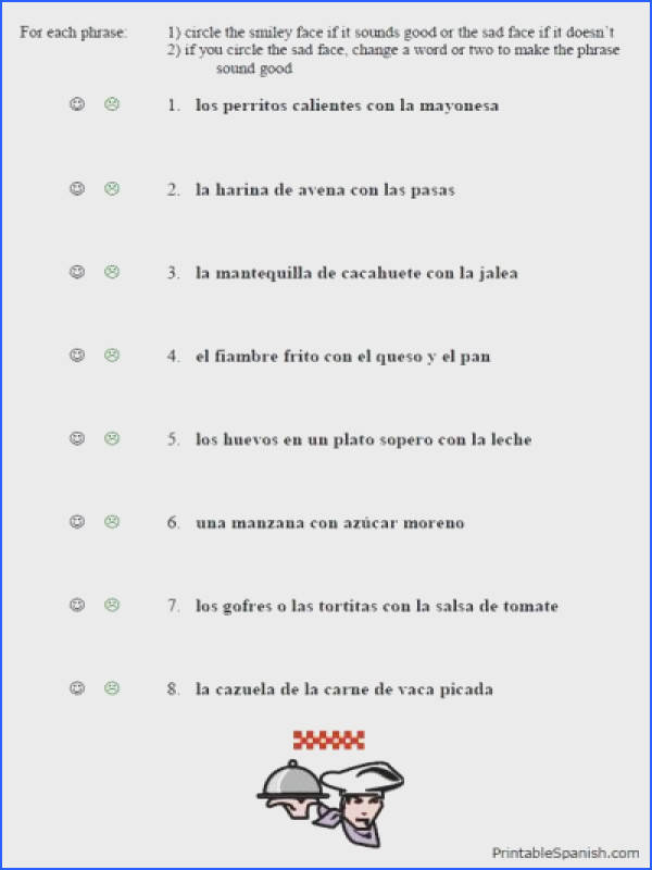 free printable spanish worksheet packet on food vocabulary lunch phrases almuerzo