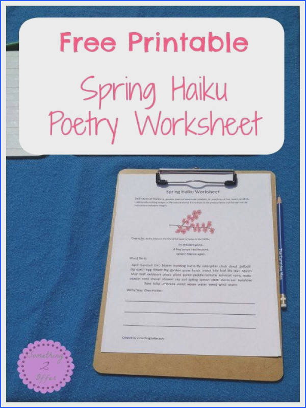 Free Printable Spring Haiku Poetry Worksheet