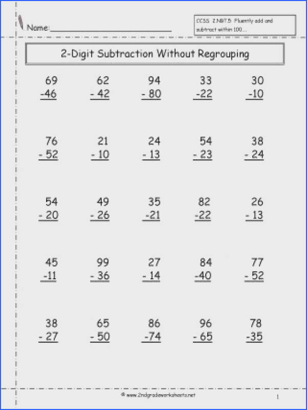 Two Digit Subtraction Without Regrouping Worksheet 2nd Grade Math Worksheets Free Printable With 3 Mixed Addition
