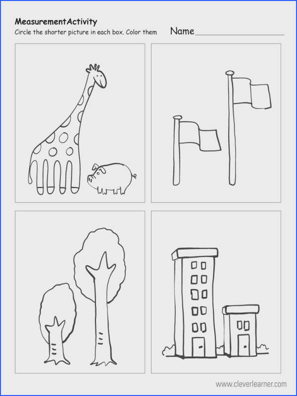 Which object is shorter free worksheet for preschools