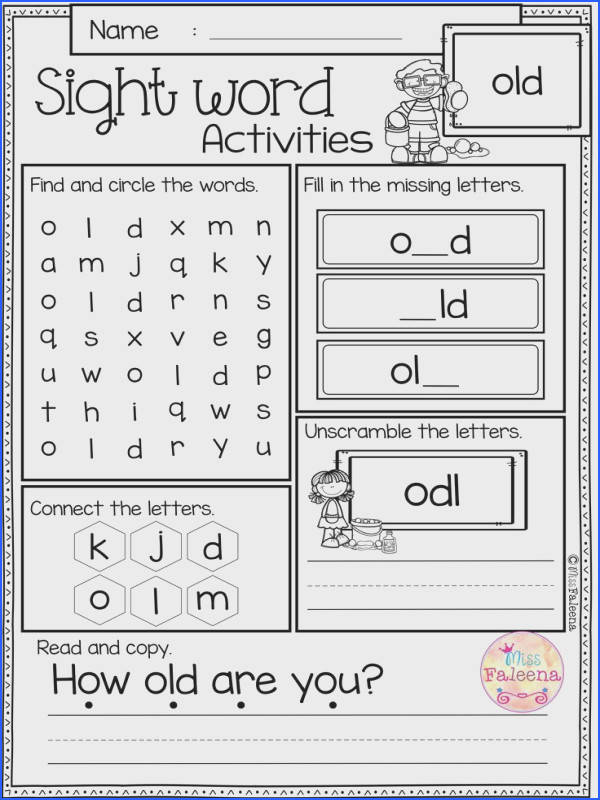 Free Sight Word Activities is perfect for preschool kindergarten and first graders These sight