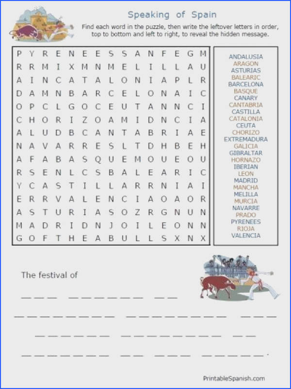 Free Spanish Speaking Countries puzzles & other worksheets from PrintableSpanish