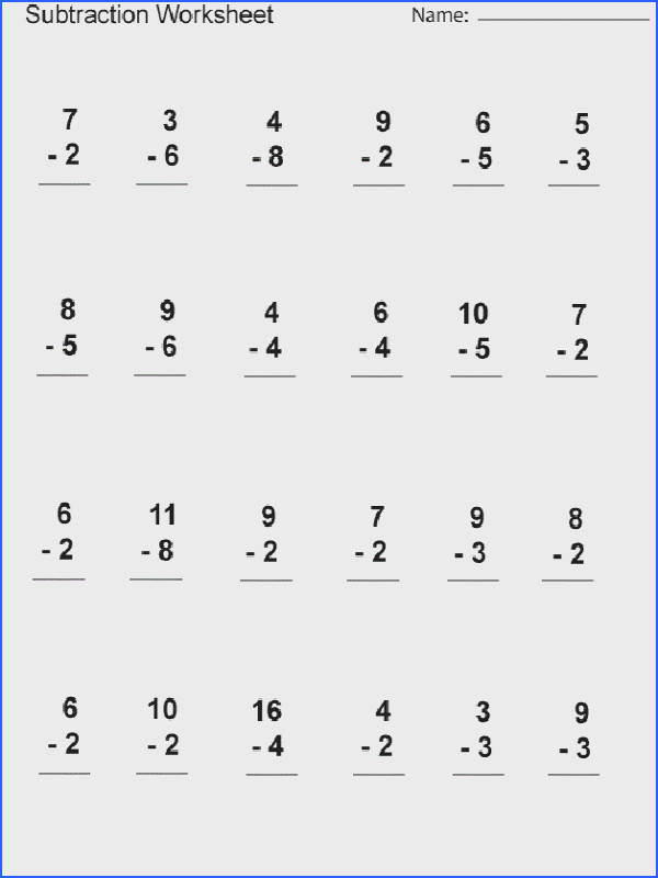 Free Subtraction Worksheets For 1St Grade Worksheets for all Download and Worksheets