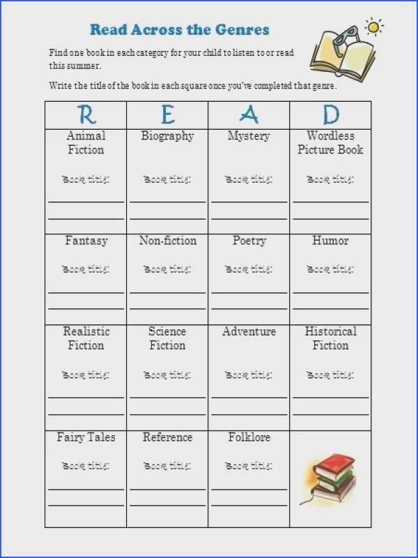Free Summer Reading Log Printable Genre Challenge