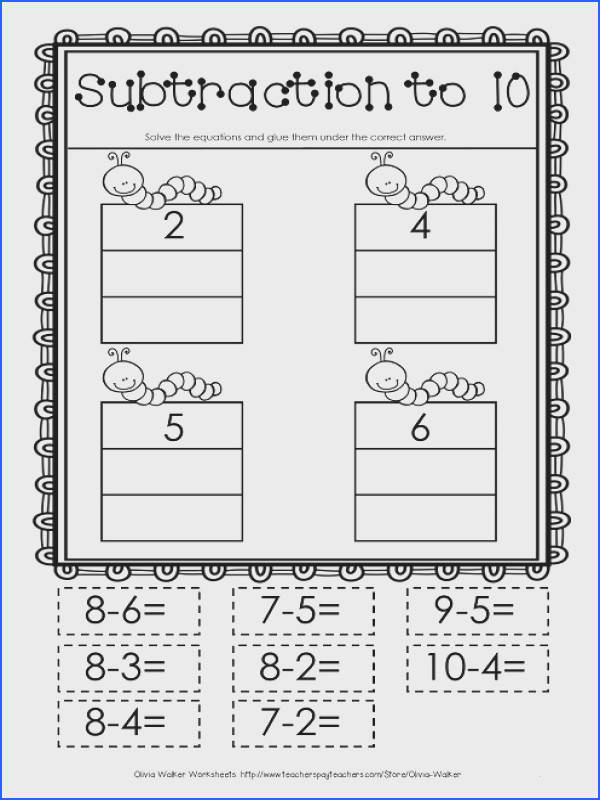 Free Takeaway Worksheet Subtract to 10 Cut An Paste Image Below Cutting Worksheets