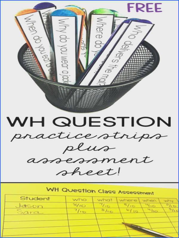 FREE WH QUESTION STRIPS plus assessment sheet 10 questions for each WH question