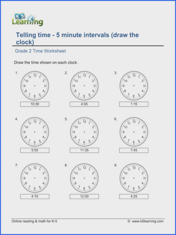 Grade 2 Telling Time Worksheets free & printable