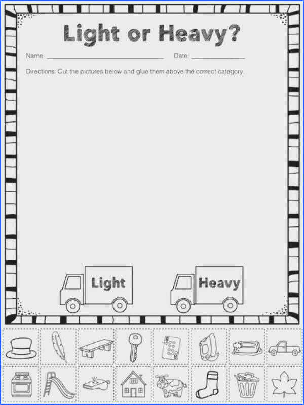 FREE Heavy and Light Sorting Activity Great for BFSU THRead A Lesson Organizing and sorting matter