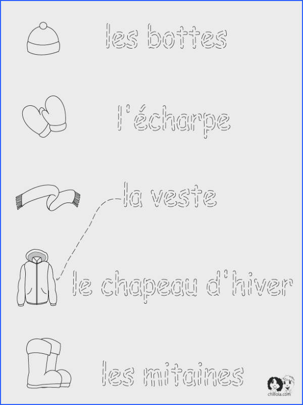 French Winter Clothes Worksheets English for Children French for Children German for