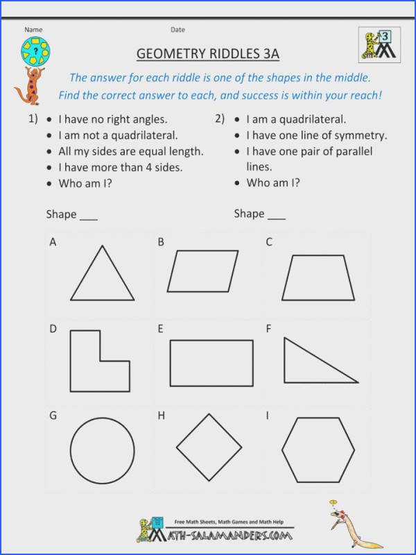 Fun Matheets 7th Grade Geometry Riddles Printable Pdf Coloring Graders Multi Step Word Problems Math Worksheets