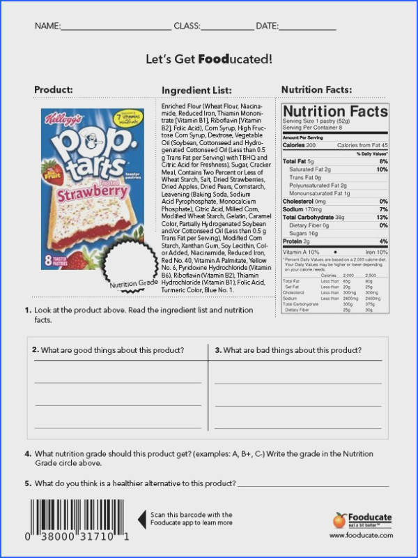 Fun Nutrition Worksheets for Kids Image Below Nutrition Label Worksheet