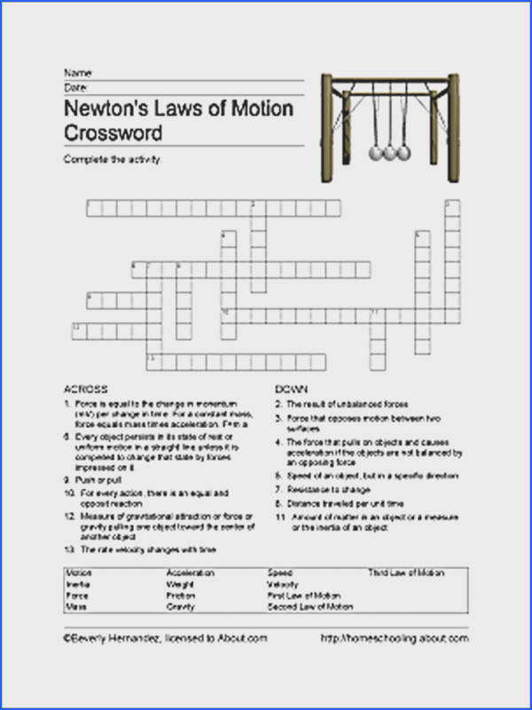 Free Printable Newton s Laws of Motion Word Search Newton s Laws of Motion Crossword Puzzle