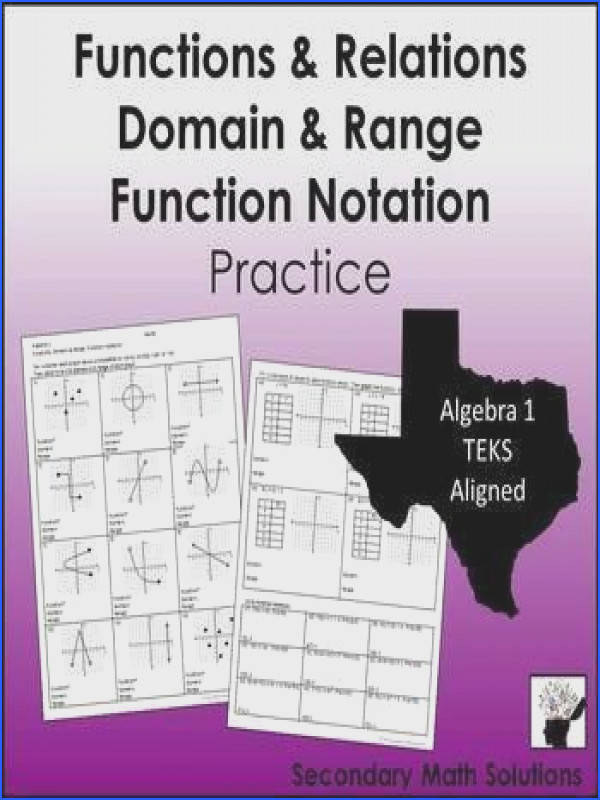 Functions Domain & Range Function Notation Practice 8 5G A12A A12B
