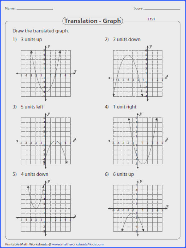 Transformation Quadratic Functions Worksheet Free Worksheets Math 3 Transformations Parent Horizontal Shift Multiple