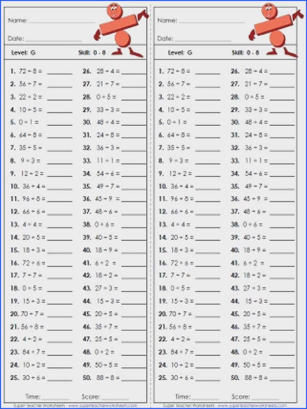 Gallery For Multiplication And Division Worksheets Grade 5