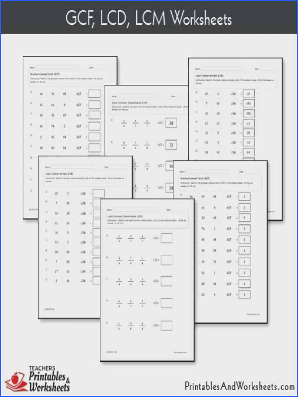 GCF LCD LCM Worksheets With Answer Keys Sample