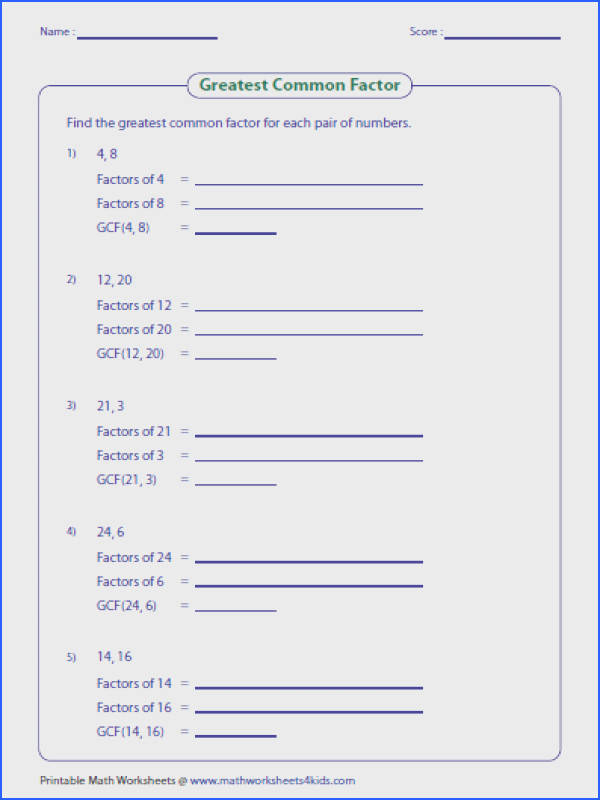 GCF Worksheets on finding the greatest mon factor of whole numbers monomials and polynomials