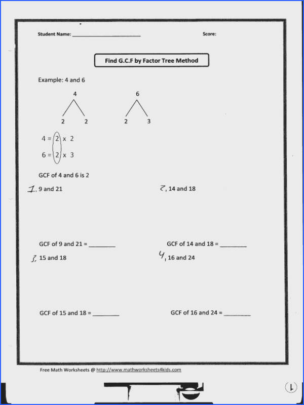 Greatest Common Factor Worksheets Mychaume
