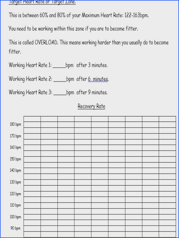GCSE PE Recovery Rate worksheet