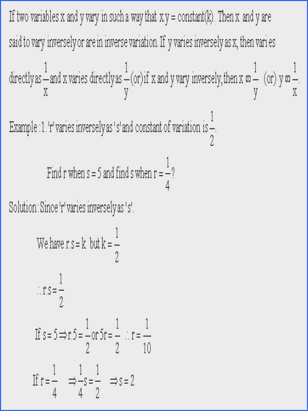 Direct And Inverse Variation Worksheet Mychaume Com