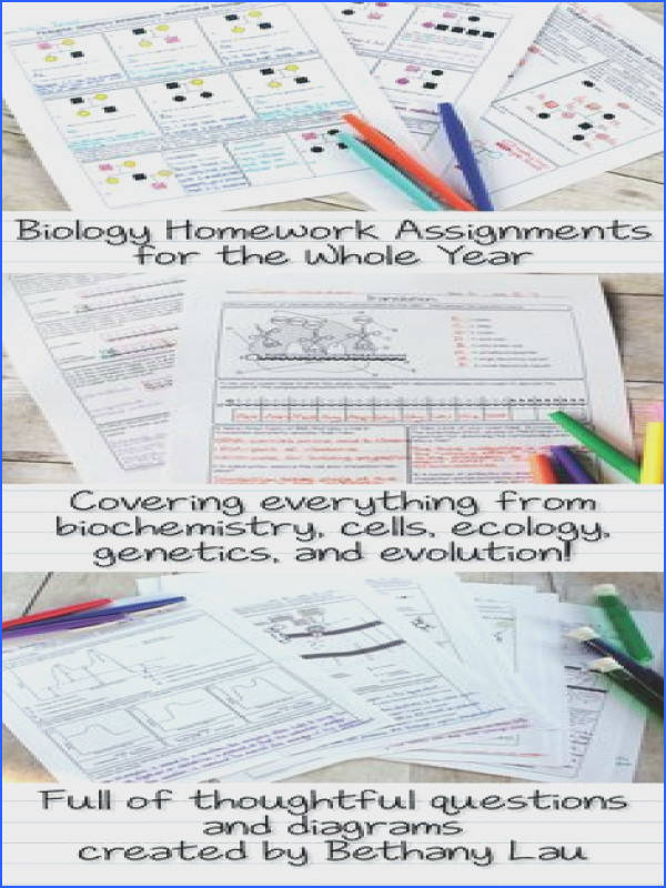 A whole year s worth of biology worksheets or homework pages full of thoughtful questions