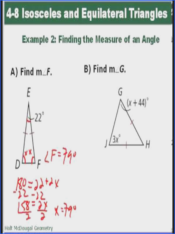 Geometry 4 8 Isosceles and Equilateral Triangles