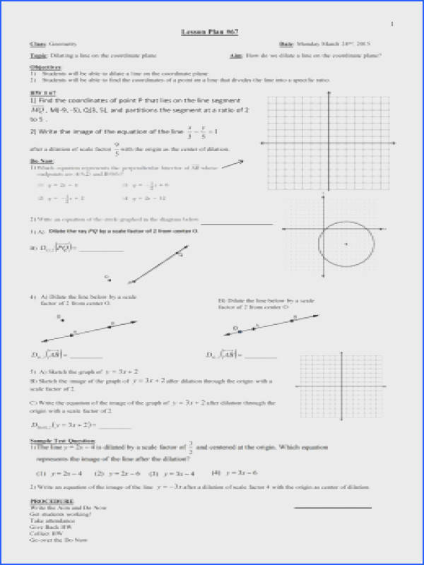 Geometry Fall 2014 Lesson 067 Dilating lines dividing lines on