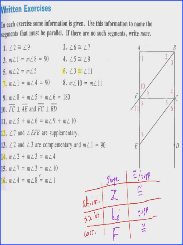 Parallel Lines And Transversals Worksheet Mychaume Com