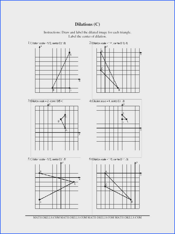 Geometry Worksheet Dilations