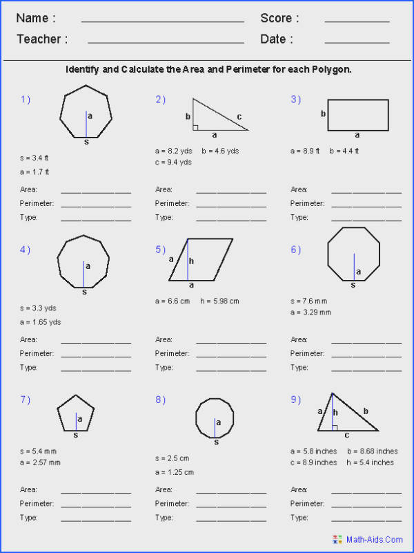 Area and Perimeter of Regular Polygons Worksheets