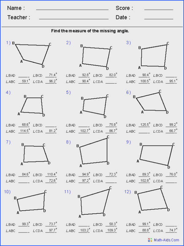 Angles of Quadrilaterals Worksheets