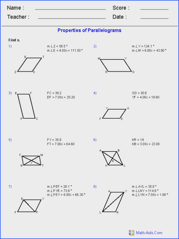 Geometry Worksheets Image Below Properties Of Parallelograms Worksheet
