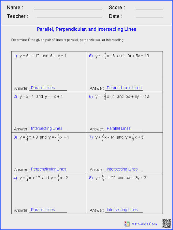 Given a Pair of Lines Determine if the Lines are Parallel Perpendicular or Intersecting