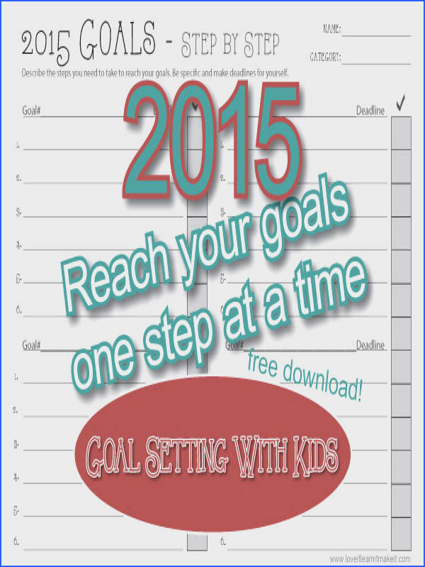 Goal Setting Continued Step by Step Worksheet