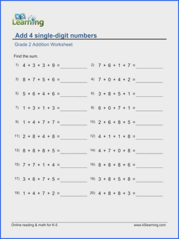 Grade 2 Addition Worksheet on adding 4 single digit numbers