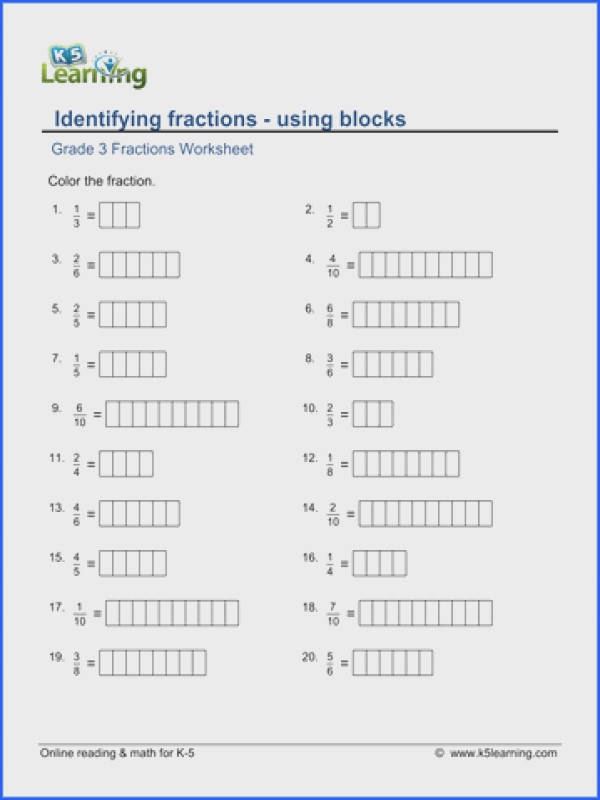 Grade 3 Fractions & decimals Worksheet identifying fractions using blocks