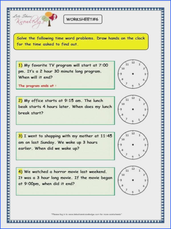 Grade 3 maths worksheets on Time Problems with answer key print them or pin it