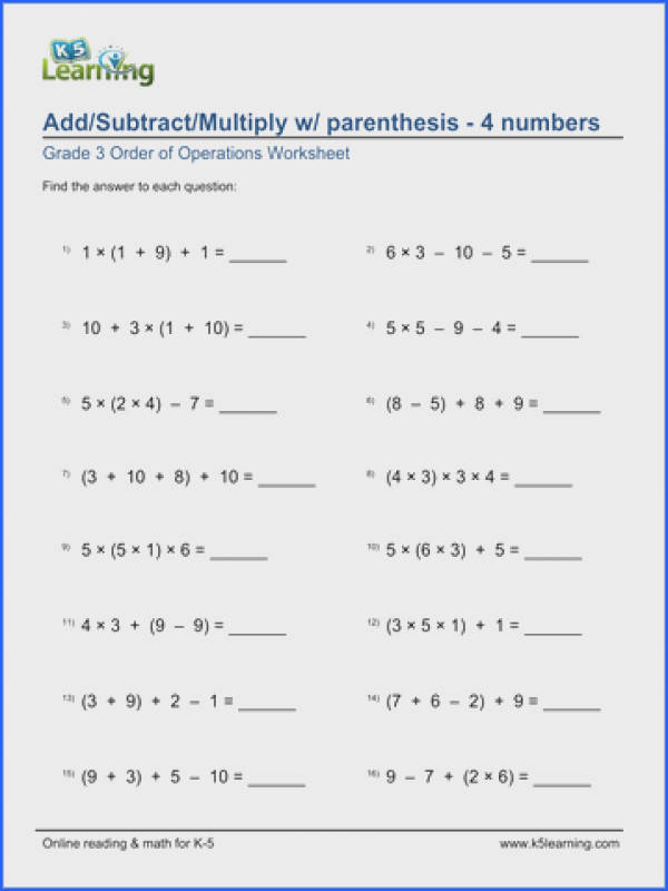 Grade 3 Order of Operations Worksheet