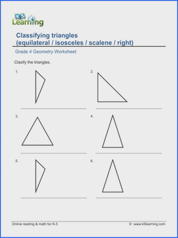 Grade 4 Geometry Worksheet classifying triangles equilateral isosceles scalene