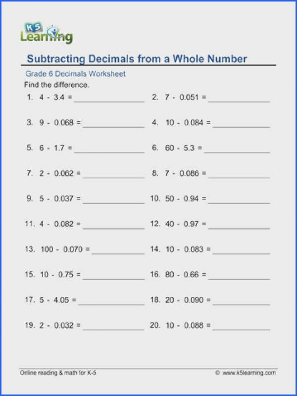 Grade 6 Decimal Subtraction Worksheet