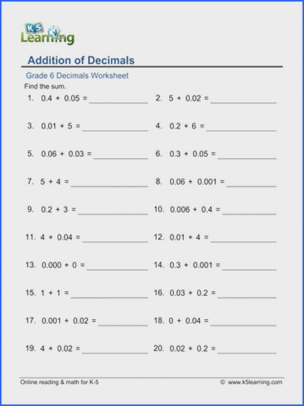 Grade 6 Decimals Worksheet addition of decimals