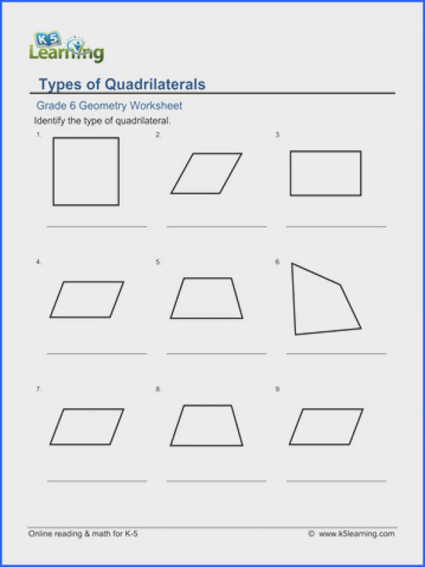 Grade 6 Geometry Worksheet classifying quadrilaterals
