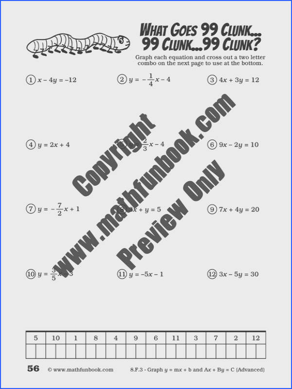 Grade 8 Mon Core Math Worksheets Math Funbook Image Below Y Mx B Worksheets
