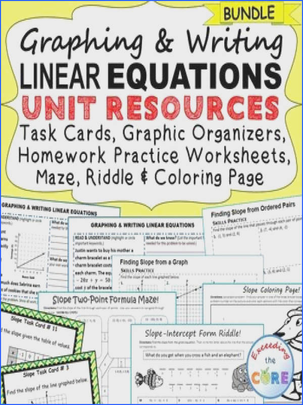 GRAPHING & WRITING LINEAR EQUATIONS SLOPE Bundle 40 task cards 10 problem solving graphic